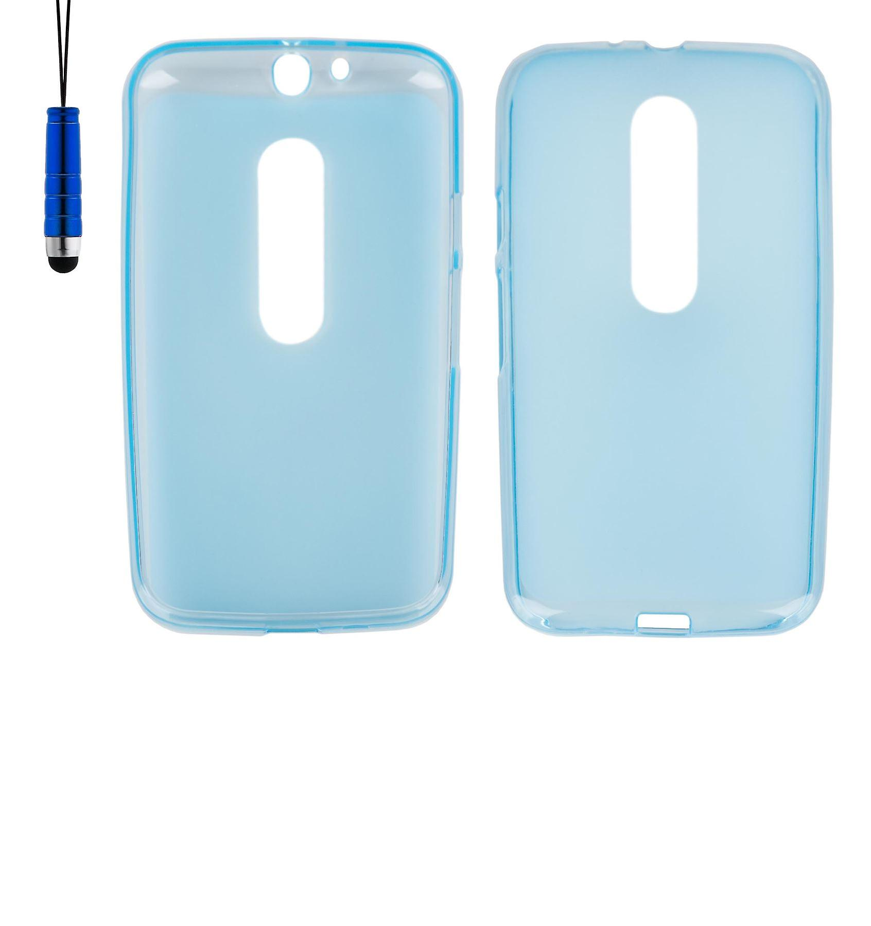 Crystal Gel case + stylus for Motorola Moto G3 (3rd Gen 2015) - Deep Blue
