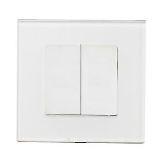 I LumoS Luxury White Full Glass Screwless Blanking Plate Wall Single Socket