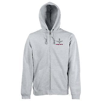 Para-quedas Regimento Utrinque Paratus bordado logotipo - zipado com capuz casaco