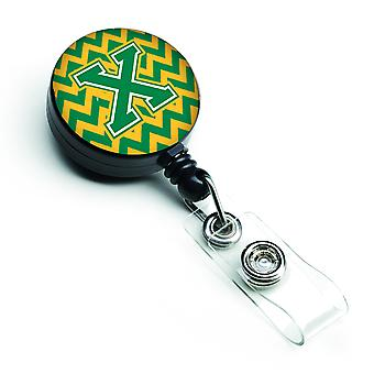 Letter X Chevron Green and Gold Retractable Badge Reel