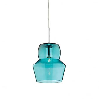 Ideal Lux Zeno 22cm Turquoise Glass Pendant Shade Light
