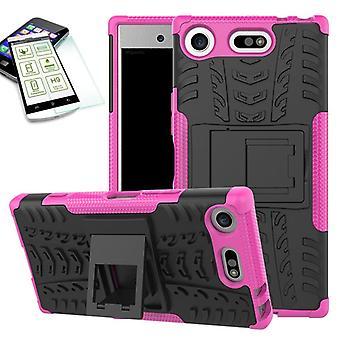 Hybrid 2 stykke Koczian tilfelle rosa for Sony Xperia XZ1 kompakt / mini pose case + herdet glass