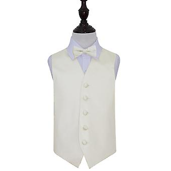 Plain Ivory Satin bruiloft gilet & strikje Set voor jongens