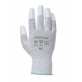 Portwest - guantes de yema del dedo PU antiestático (Pack de 3 pares)
