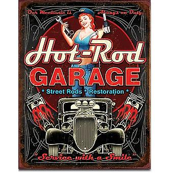 Letrero de Metal de Hot Rod Garage (pistones)