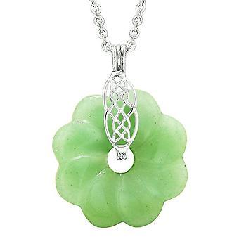 Keltischer Schild Knoten Schutz Kräfte Amulett grüne Quarz Glück Blume Donut Anhänger Halskette