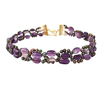 Gemshine-Women '-halsband-halsband-ametist-pärlor-guldpläterad-lila