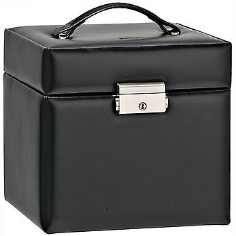 Large & spacious jewelry case black leather jewelry case black
