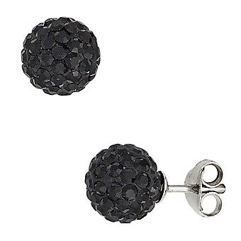 Ear plug ball 925 Silver with crystals black earrings
