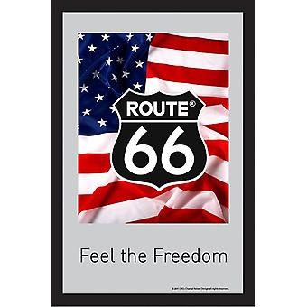 Route 66 mirror flag feel the freedom wall mirror with black plastic framing wood.