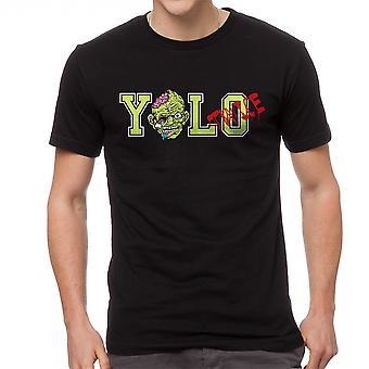 Lustige Yolo zweimal Zombie Graphic Männer Schwarzes T-shirt