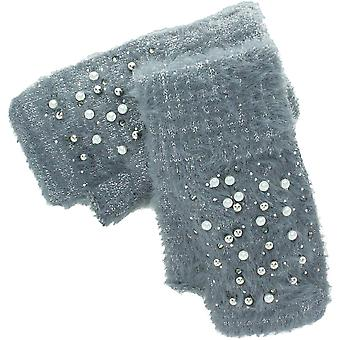 Evvor Womens Pearl Soft Touch Acrylic Fingerless Gloves
