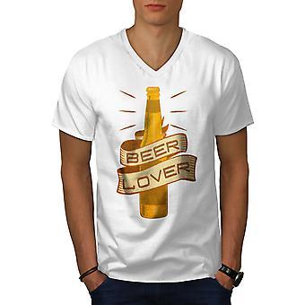 Beer Lover Men WhiteV-Neck T-shirt | Wellcoda