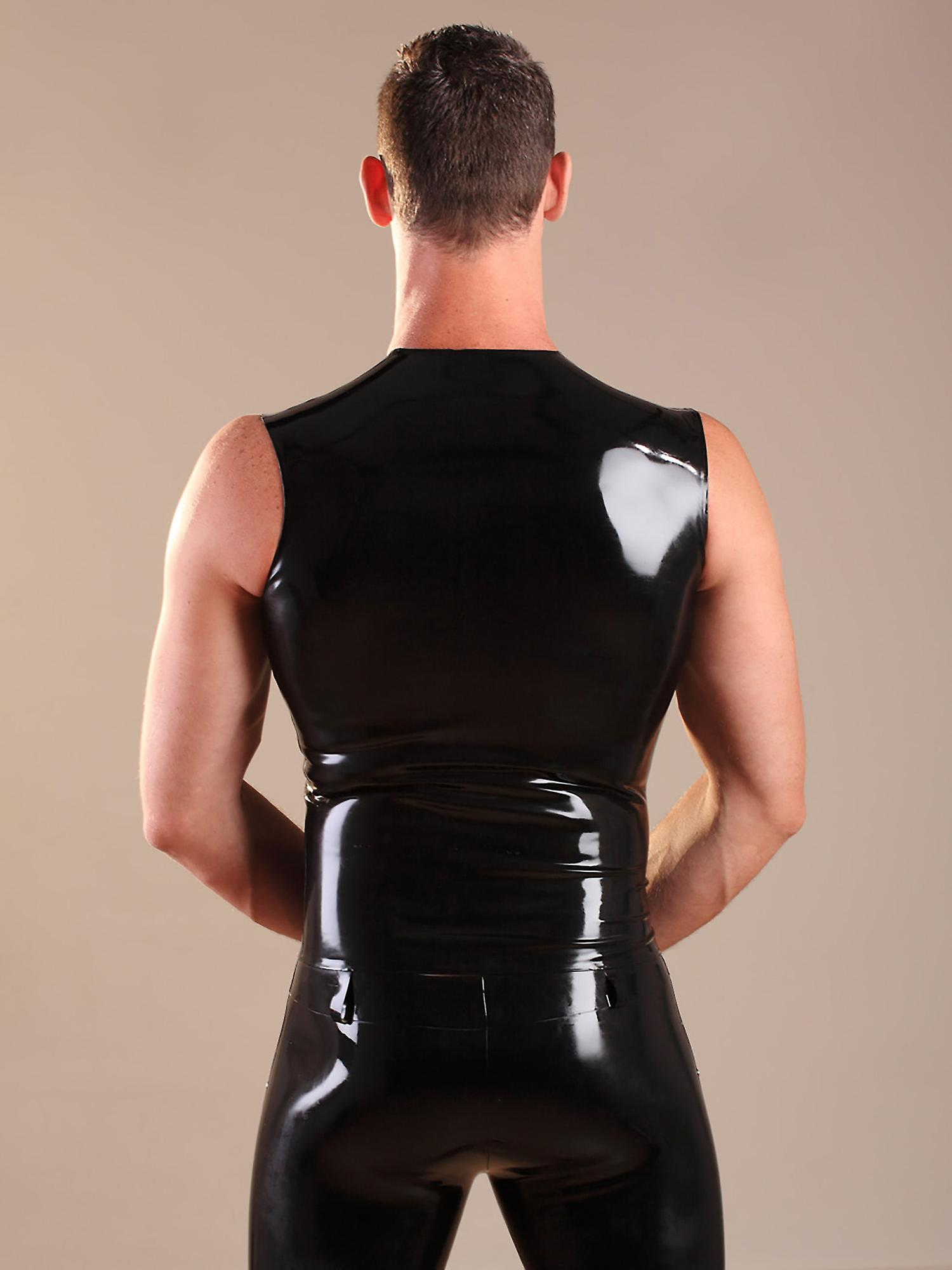 Honour Men's Sexy T Shirt in Latex Rubber Black Sleeveless Top Round Neck