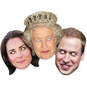 Diamond Jubilee - Royal Family Card Fancy Dress Mask Sæt af 3 - Dronning William og Kate