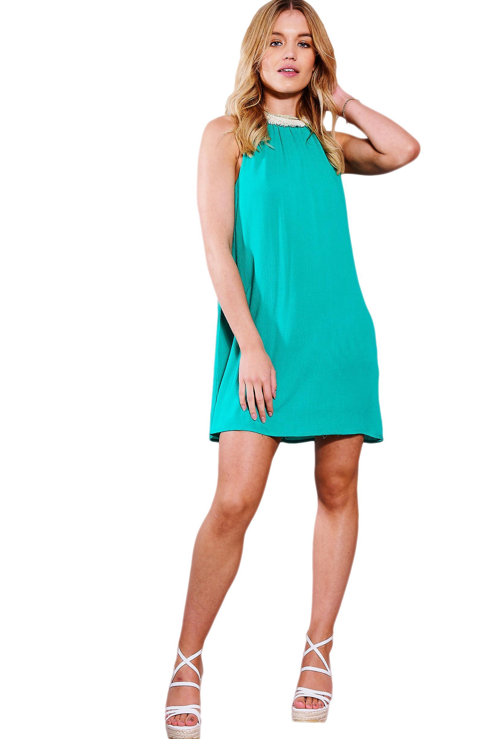 Danske høy hals Swing kjole med frynser krage