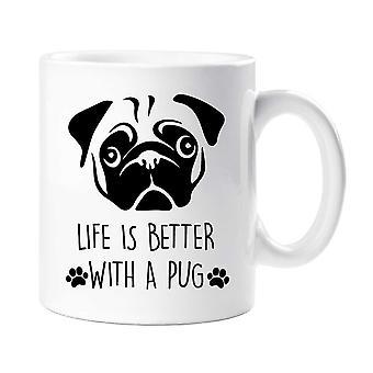 Barro amasado taza vida es mejor con un Pug