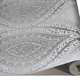 Damask Wallpaper Metallic Glitter Sparkle Textured Embossed Luxury Vinyl