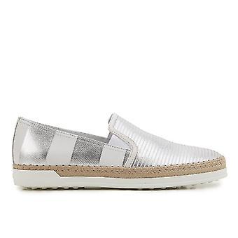 Tod's Xxw0tv0j970gelb001 Women's Silver Leather Slip On Sneakers