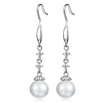 925 Sterling Zilver klauw ingestelde Pearl Drop Earrings