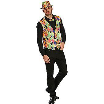 Neon vest Clownweste fargerike jester kostyme for menn