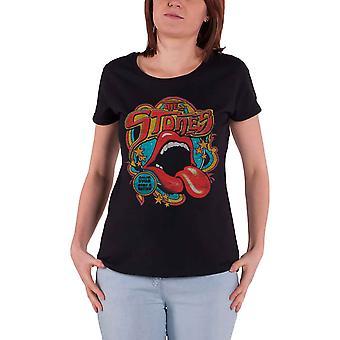 Rolling Stones T Shirt Retro 70-tal Vibe nya officiella Womens Skinny Fit svart