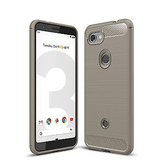 Google pixel 3A TPU cas fibre de carbone optique brossé étui de protection gris