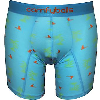 Comfyballs Cotton Stretch Shark Attack Print Boxer Brief, Blue