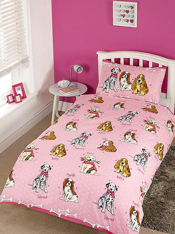 Doggies Pink Duvet Cover and Pillowcase Set