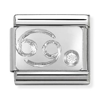 Nomination Classic Cancer Zodiac Steel, CZ and 925 Silver Link Charm 330302/04
