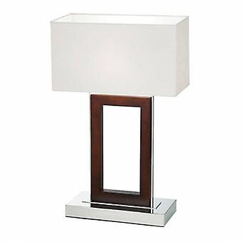 Table Lamp Dark Wood, Cream Faux Suede
