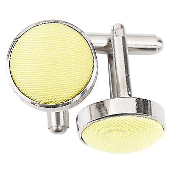 Lemon Yellow Plain Shantung Cufflinks