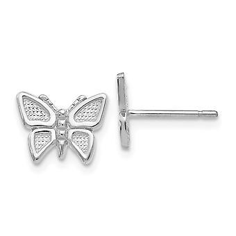 14k Ouro Branco Texturizado Flat back Post Brincos Borboleta Angel Wings Brincos Joias Joias Para Mulheres