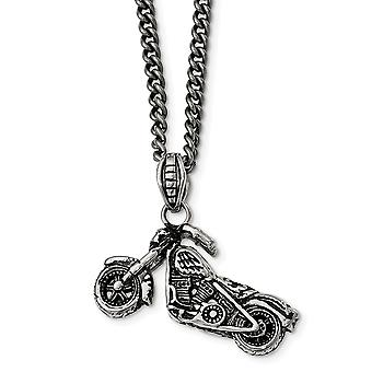 Stainless Steel Polished Antiqued and Textured Motorcycle Necklace  22 Inch Jewelry Gifts for Women