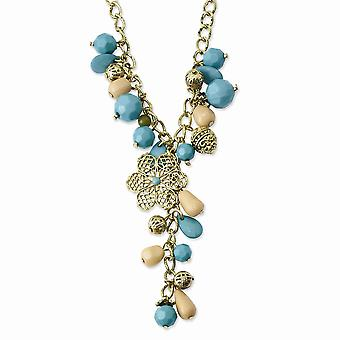 Gold tone Enamel Fancy Lobster Closure Teal Green and Cream Acrylic Beads 16inch With Ext Necklace Jewelry Gifts for Wom