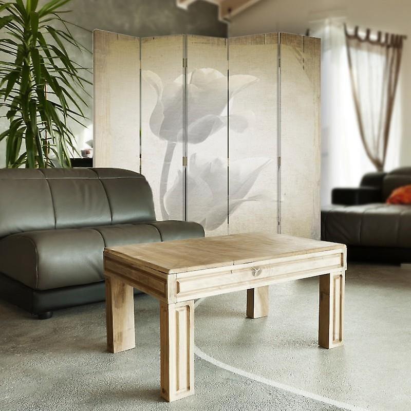 Diviseur de chambre, 5 panneaux, toile, tulipes blanches