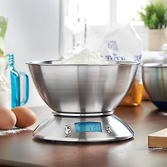 5kg*1g Digital Measuring Bowl Kitchen Scale -  Digital Electronic Scale Stainless Steel with 2.15 Liter Internal Tray Silver