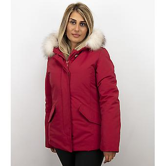 Winter coat Red - Fur collar White - Winter coats With Fur Collar