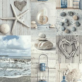 Colagem marítima papel de parede azul/cinza Arthouse 699000