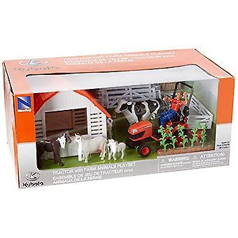 1:18 mittakaavassa Kubota maataloustraktori ja eläinten Leikkisetti
