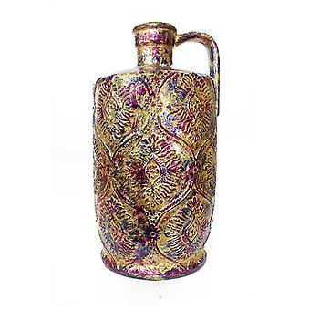 Keltainen vaaleanpunainen ja violetti folio ja lakka damask leimattu kannu maljakko