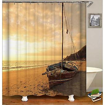 Abandoned Sailboat On The Beach Shower Curtain