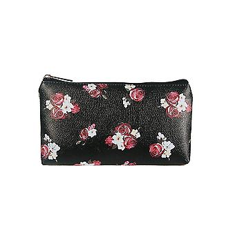 Jewelcity Womens/Ladies Dark Floral Small Flat Makeup Bag