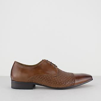 Blakeseys Erpingham Mens Leather Woven Lace Up Derby Shoes Tan