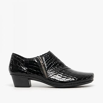 Rieker 53851-01 Ladies block hälen skor svart