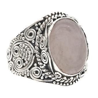 Ring Silber 925 Sterlingsilber Rosenquarz rosa Stein (Nr: MRI 160)