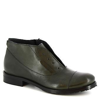ليوناردو أحذية النساء & s أحذية الكاحل المصنوعة يدويا في السرير الأخضر الجلود الرمز البريدي الجانب