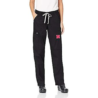 WonderWink Women's University of Nebraska Straight Leg Cargo Pant, Black, X-L...