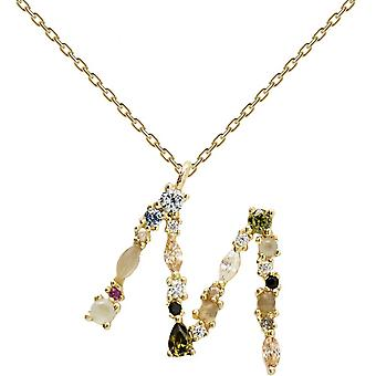 PD Paola CO01-108-U necklace and pendant - I AM in gold silver with natural stones and semi-precious Women