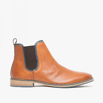 Front Stanford Mens Leather Chelsea Boots Tan